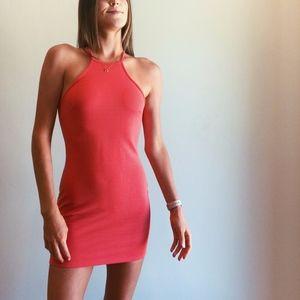 Bright Coral High Neck Bandage Dress